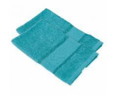 buttinette Serviettes invité à broder en tissu éponge, turquoise, 2 pièces