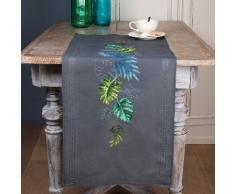 """Chemin de table à broder """"feuilles tropicales"""""""