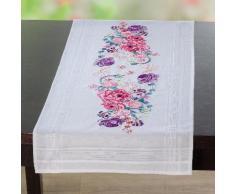 """Chemin de table à broder """"bouquet de roses"""""""