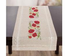 """Chemin de table à broder """"coquelicots"""", 40 x 100 cm"""