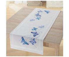 """Chemin de table à broder """"papillons bleus"""""""