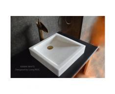 Vasque pierre blanche Marbre Cristal 40x40 KIAMA WHITE