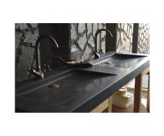 Double vasque en pierre 160x50 Granit noir Luxe - FOLEGE SHADOW