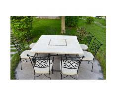 Table de jardin carrée 140cm mosaïque pour extérieur intérieur en marbre