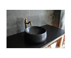 Vasque en pierre noire Basalte véritable de Mongolie - OUVEA DARK