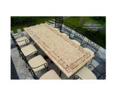 Table mosaïque de jardin en pierre naturelle marbre 160-200-240 italien persan TOSCANE