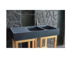 120x60x17 Évier Cuisine pierre Granit 2 cuves égouttoir - BESSO