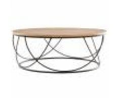 Miliboo Table basse ronde bois et métal noir D80 x H30 cm LACE