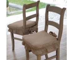Housse chaise unie volantée coton bachette