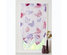 Store voilage remontable motif papillons finition passe-tringle