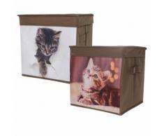 Boîte de rangement motif «chat» - lot de 2