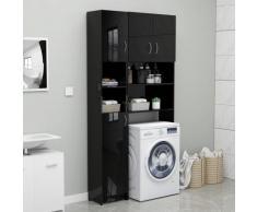 vidaXL Armoire de salle de bain Noir brillant 32x25,5x190 cm Aggloméré
