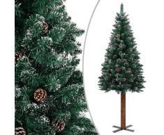 vidaXL Sapin de Noël mince bois véritable et neige blanche Vert 150cm