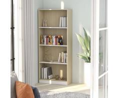 vidaXL Bibliothèque à 4 niveaux Blanc et chêne 60x24x142 cm Aggloméré