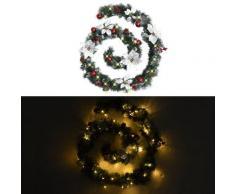 vidaXL Guirlande de Noël avec lumières LED Vert 2,7 m PVC