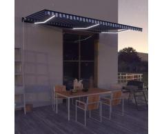 vidaXL Auvent manuel rétractable avec LED 600x300 cm Bleu et blanc