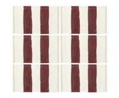 vidaXL Napperons 6 pcs Chindi Bande Bordeaux et blanc 30 x 45 cm