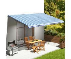 vidaXL Tissu de remplacement pour auvent Bleu et blanc 6x3,5 m