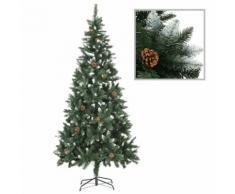 vidaXL Sapin de Noël avec pommes de pin et paillettes blanches 210 cm