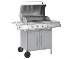 vidaXL Barbecue à gaz 4+1 zones de cuisson Argenté Inox