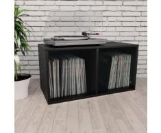 vidaXL Boîte de rangement de vinyles Noir 71x34x36 cm Aggloméré