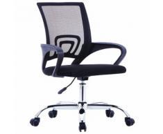 vidaXL Chaise de bureau avec dossier en maille Noir Tissu