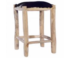 vidaXL Tabouret de bar Cuir de chèvre véritable et bois de teck massif