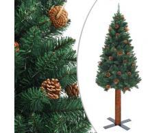vidaXL Sapin de Noël mince avec bois véritable et cônes Vert 210cm PVC