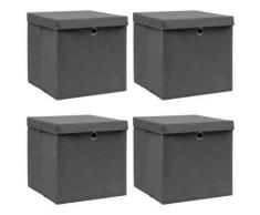vidaXL Boîtes de rangement avec couvercles 4 pcs Gris 32x32x32cm Tissu