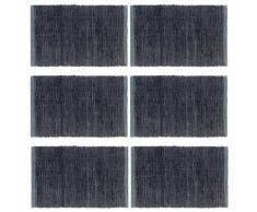 vidaXL Napperons 6 pcs Chindi Plain Anthracite 30 x 45 cm Coton