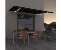 vidaXL Auvent manuel rétractable avec LED 500x300 cm Anthracite