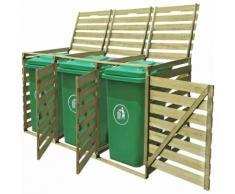 vidaXL Abri pour poubelle triple 240 L Bois imprégné
