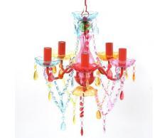 vidaXL Lustre en cristal multicolore