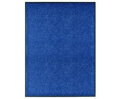 vidaXL Paillasson lavable Bleu 90x120 cm