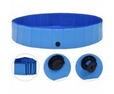 vidaXL Piscine pliable pour chiens Bleu 160x30 cm PVC
