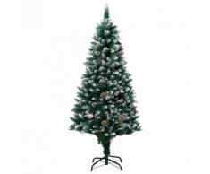 vidaXL Sapin de Noël avec pommes de pin et neige blanche 180 cm
