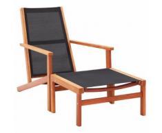 vidaXL Chaise de jardin et repose-pied Eucalyptus solide et textilène