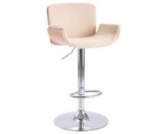 vidaXL Chaise de bar Crème Similicuir