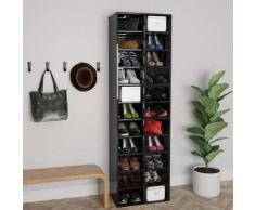 vidaXL Armoire à chaussures Noir brillant 54x34x183 cm Aggloméré