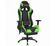 vidaXL Chaise de bureau inclinable avec repose-pied Vert