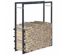 vidaXL Portant de bois de chauffage Noir 80x25x100 cm Acier