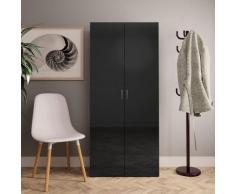 vidaXL Armoire à chaussures Noir brillant 80x35,5x180 cm Aggloméré
