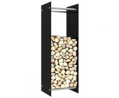vidaXL Portant de bois de chauffage Noir 40x35x120 cm Verre