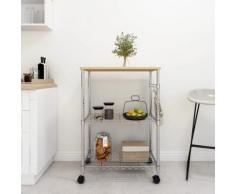 vidaXL Chariot de cuisine à 3 niveaux 61x36x85 cm Fer chromé