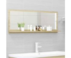 vidaXL Miroir de salle de bain Chêne sonoma 100x10,5x37 cm Aggloméré