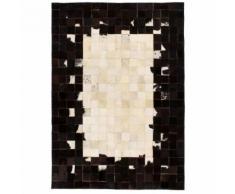 vidaXL Tapis Cuir véritable Patchwork 160 x 230 cm Carré Noir/Blanc