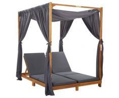 vidaXL Chaise longue double avec rideaux et coussins Bois d'acacia