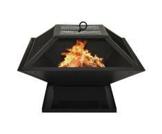 vidaXL Foyer et barbecue avec tisonnier 2 en 1 46,5x46,5x37 cm Acier