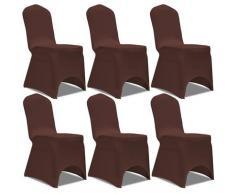 vidaXL Housse de chaise extensible 6 pcs marron