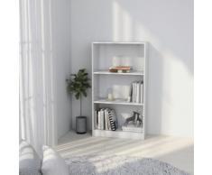 vidaXL Bibliothèque à 3 niveaux Blanc 60x24x108 cm Aggloméré